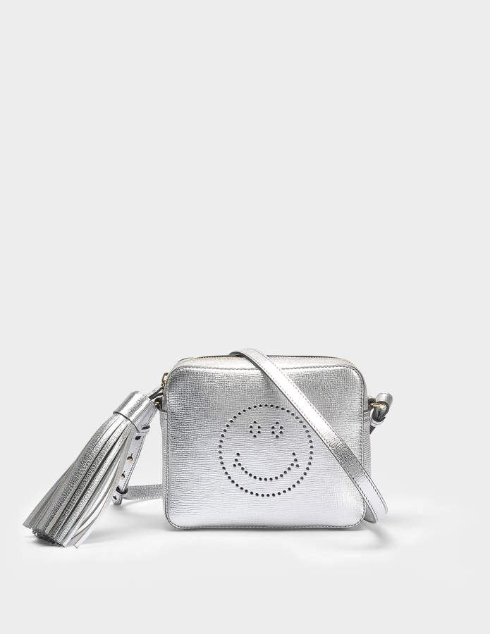 Anya Hindmarch Smiley Crossbody Bag in Silver Metallic Capra Leather