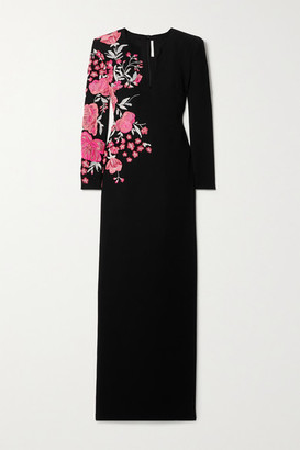 Naeem Khan Embroidered Wool-crepe Gown - Black