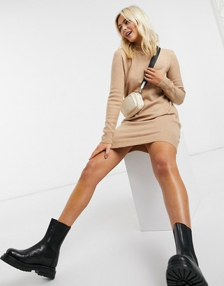 Pieces jumper dress with high neck in camel