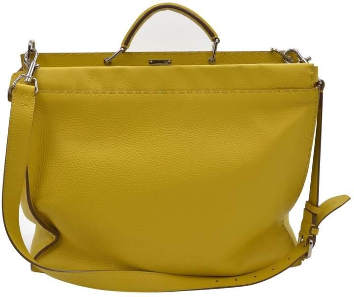 45414053 Peekaboo Yellow Leather Handbag