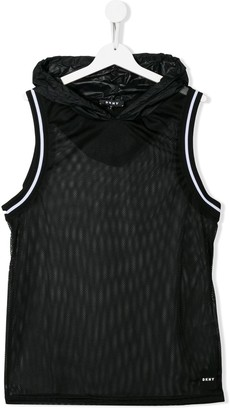 DKNY TEEN hooded mesh vest