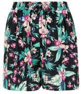Yours Clothing YoursClothing Plus Size Womens Ladies Bottoms Black Tropical Print Shorts