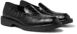Dries Van Noten Croc-Effect Leather Loafers