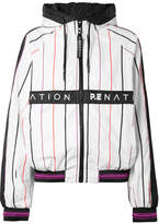 P.E Nation Intensity Hooded Striped Shell Jacket - White