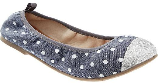 Old Navy Girls Printed Glitter-Toe Ballet Flats