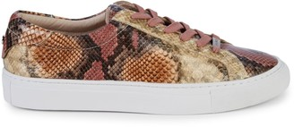 J/Slides Lacee Snakeskin-Print Leather Sneakers