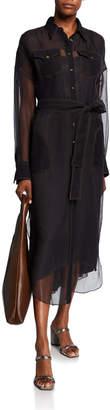 Brunello Cucinelli Western-Style Crispy Silk Western Duster Shirt with Slip