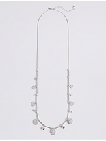 M&S Collection Silver Plated Long Disc Crystal Necklace