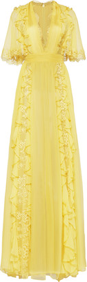 ZUHAIR MURAD Ruffled Lace-Detailed Silk Dress