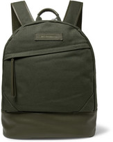 WANT Les Essentiels Kastrup Leather-trimmed Organic Cotton-canvas Backpack - Army green