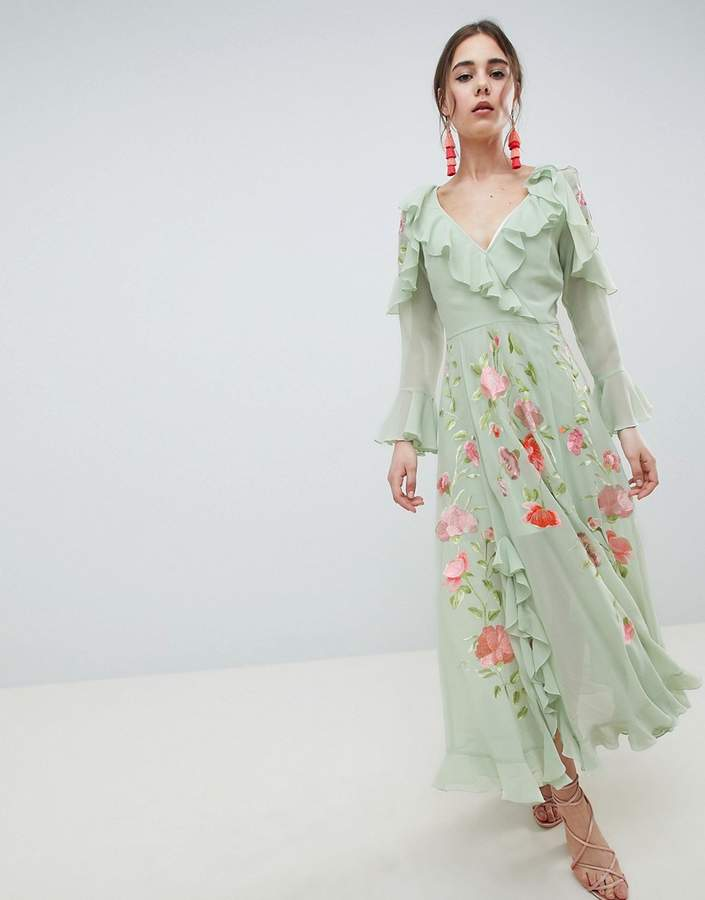 Asos Design DESIGN Embroidered Wrap Maxi Dress
