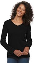Croft & Barrow Women's Classic Long Sleeve V-Neck Tee
