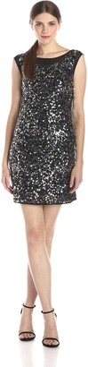 Laundry by Shelli Segal Women's Sleeveless Embellished Dress with Cowl Neck Back