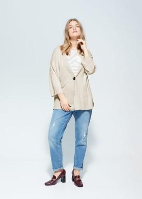 MANGO Violeta BY Tortoiseshell button cardigan beige - S - Plus sizes