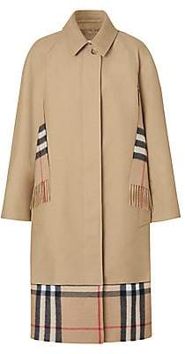 Burberry Women's Check Scarf Inset Car Coat