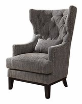 Homelegance Adriano Accent Chair with Kidney Pillow, Dark Grey/White Fabric