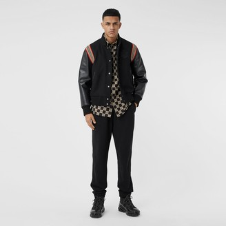 Burberry Icon Stripe Trim Wool Felt and Leather Bomber Jacket