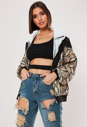 Missguided White Snake Print Colorblock Windbreaker Jacket