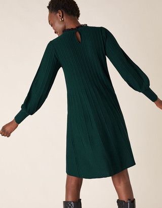 Monsoon Woven Neckline Knit Dress Green