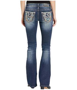 Miss Me Crescent Moon Embellished Bootcut Jeans in Dark Blue