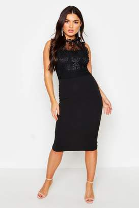 boohoo Lace Panelled Detail Midi Dress