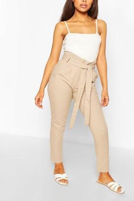 boohoo Petite Tailored Linen Pants