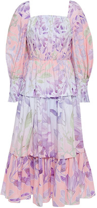 Peter Pilotto Tiered Gathered Floral-print Cotton-poplin Midi Dress