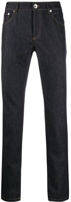 Brunello Cucinelli Contrast Stitch Straight Jeans