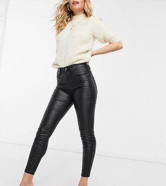 Stradivarius petite coated push up skinny jeans in black