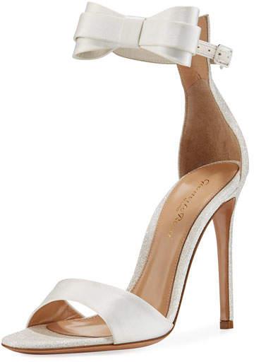 Gianvito Rossi Satin Bow-Tie d'Orsay Sandal, White