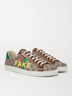 Gucci Ace Printed Leather-Trimmed Monogrammed Coated-Canvas Sneakers