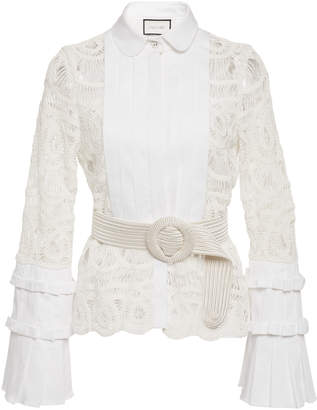 Alexis Alessio Lace-Paneled Cotton-Poplin Top