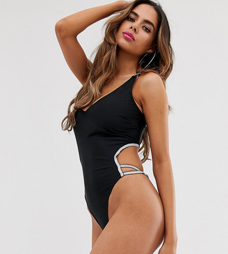 Wolfwhistle Wolf & Whistle Fuller Bust Exclusive Eco silver elastic cut out swimsuit in black D - F Cup