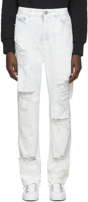 Balmain Blue and White Distressed Coated Jeans