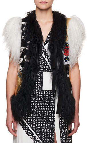 Altuzarra Belleville Mongolian Shearling Fur Belted Leather Vest with Embroidery