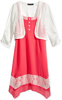 Sequin Hearts 2-Pc. Shrug & Dress Set, Big Girls (7-16)