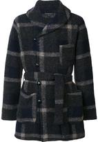 Engineered Garments belted check coat