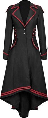 LOPILY Steampunk Tuxedo Women's Vintage Full Length Windbreaker Tummy Control Belted Buckle Trench CoatsBlackUK: 12/CN:XL