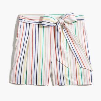 J.Crew Striped tie-waist short in stretch cotton poplin