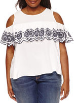 Boutique + + Short Sleeve Cold Shoulder Embroidered Woven Blouse-Plus