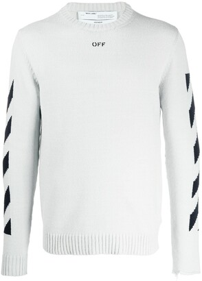 Off-White diagonal stripe Arrows intarsia jumper