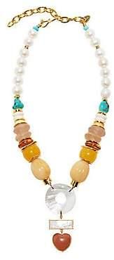 Lizzie Fortunato Women's Capri Goldplated, 13-14MM Freshwater Pearl & Multi-Beaded Pendant Necklace