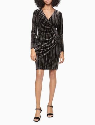 Calvin Klein Velvet Glitter Ruched Sheath Dress