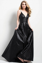 Jovani 51789 Laser Cut Leather Spaghetti Straps Dress