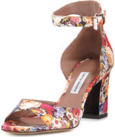 Tabitha Simmons Jerry Floral Leather Ankle-Strap Sandal, Multi