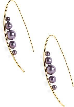 Sterling Forever Imitation Pearl Threader Earrings