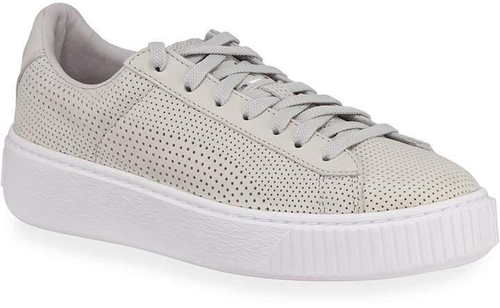puma basket leather platform low-top sneaker