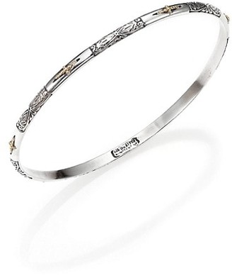 Konstantino Classics 18K Yellow Gold & Sterling Silver Etched Cross Bangle Bracelet