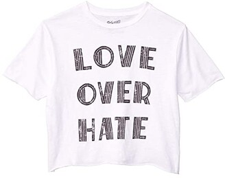 The Original Retro Brand Kids Love Over Hate Raw Edge Slightly Cropped Tee (Big Kids) (White) Girl's Clothing