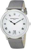 Frederique Constant FC220M4SD36 Women's Slim Line Swiss Quartz Wrist Watches with Grey Band